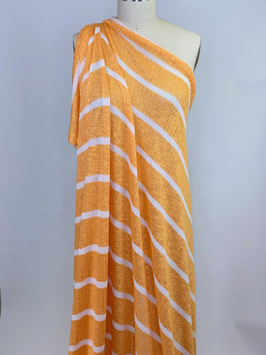 Splendid Designer Striped Rayon Sweater Knit - Tangerine/White