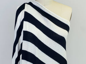 Splendid Designer Wide Stripes Sweater Knit - Black/White