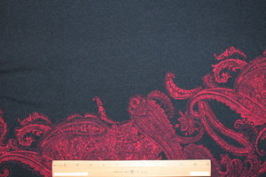 Big Bold Paisley Lightweight Sweater Knit - Red/Black