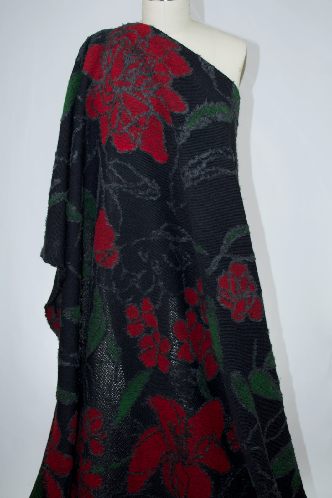 Italian Designer Bold Floral Wool Sweater Knit - Black/Gray/Red/Green