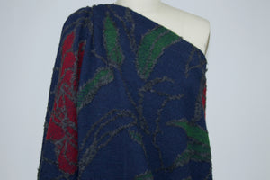 Italian Designer Bold Floral Wool Sweater Knit - Navy/Gray/Red/Green