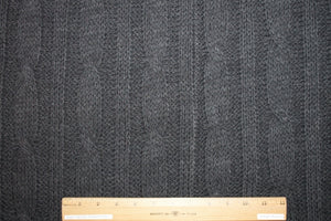 3/4+ yard of Italian Haute Designer Cable Knit Wool/Mohair Sweater Knit - Charcoal
