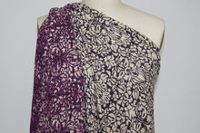 Filagree Floral Sweater Knit - Purple/Ivory/Black
