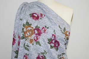 Floral Lightweight Sweater Knit - Burgundies/Rusts on Heathered Gray