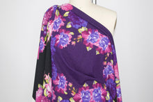 Fantabulous Florals Lightweight Sweater Knit - Pinks/Blues/Greens on Purple/Black