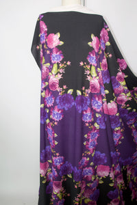 2 1/2+ yards of Fantabulous Florals Lightweight Sweater Knit - Pinks/Blues/Greens on Purple/Black