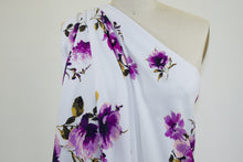 Floral Ottoman Techno Knit - Purples on White