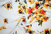 Floral Ottoman Techno Knit - Yellows on White
