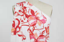 Big Bold Floral Techno Knit - Red/Pink/Coral on White