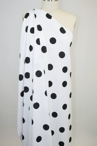 DOTS! Polka Dot Crepe Finish Techno Knit - Black/White