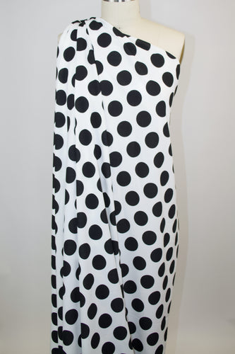 Dotty About This Polka Dot Crepe Finish Techno Knit - Black on Off-White