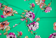 Peony Floral Techno Knit - Multi on Green