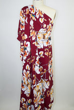 Bold Florals Techno Knit - Earth Tones/White on Crimson