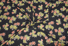 Tori Richard Palm Tree Dreams Rayon - Orange/Green on Black