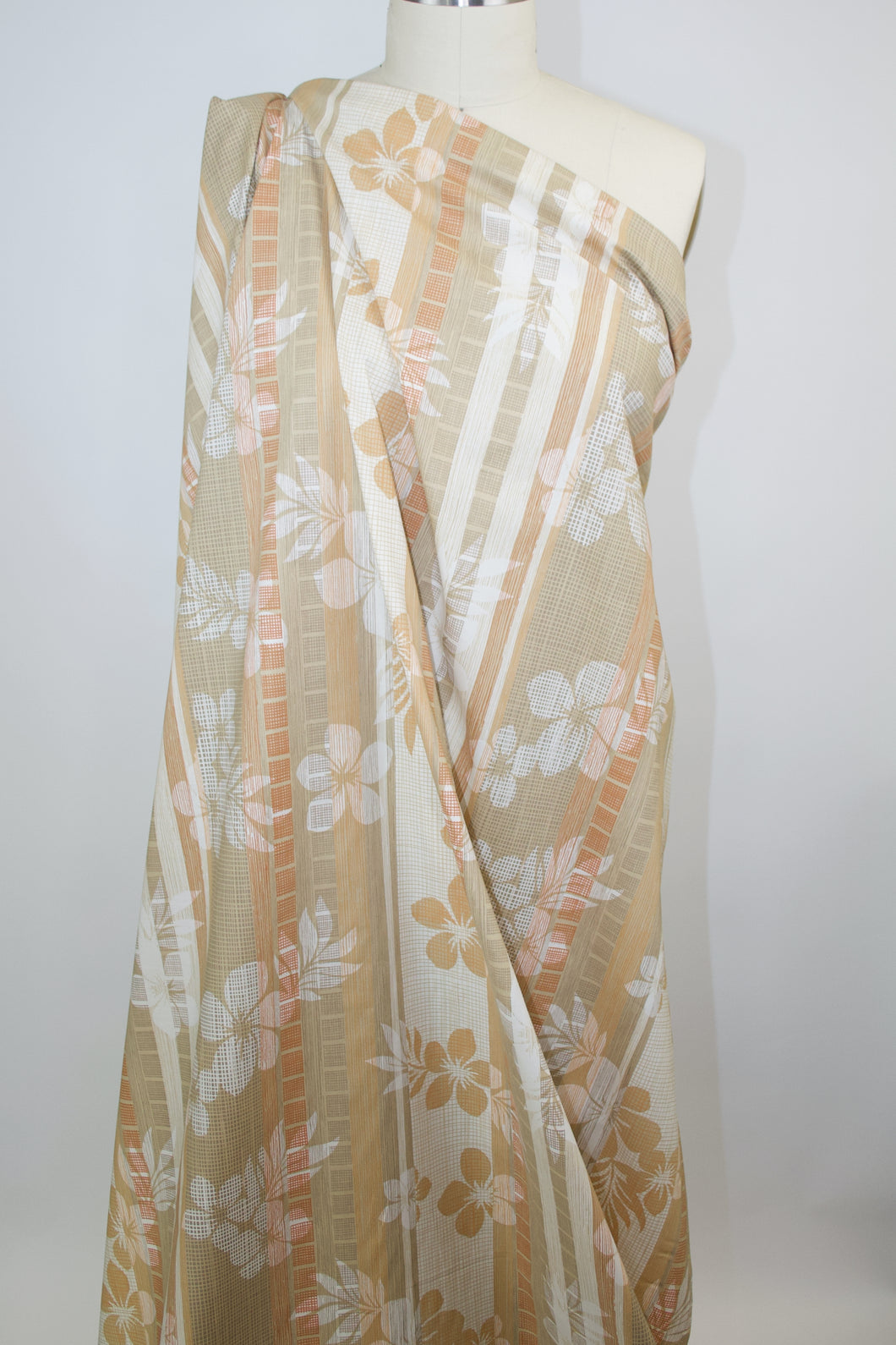Tori Richard Floral/Stripe Cotton Lawn - Tans/Orange/Ivory/White