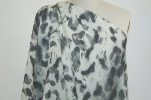 Italian Designer(s) Abstract Print Wool Challis - Grays on Ivory