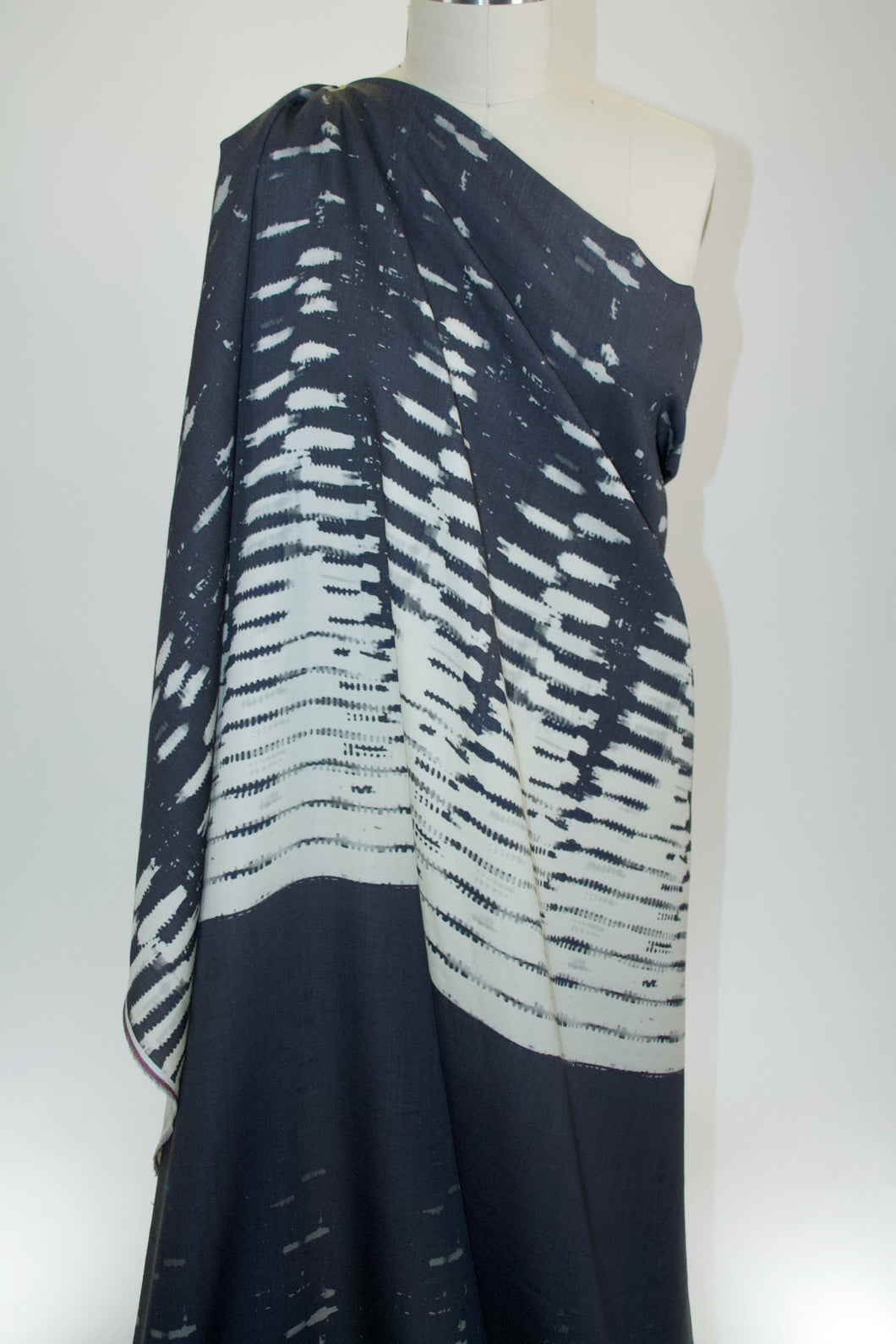 Italian Designer(s) Degradé Wool Challis Panel Print - Black/Gray/Ivory/Blue