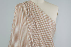 European Mini Houndstooth Virgin Wool Flannel - Tan/Ivory