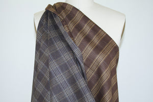 Italian Wool/Cashmere Plaid Suiting - Browns/Tan