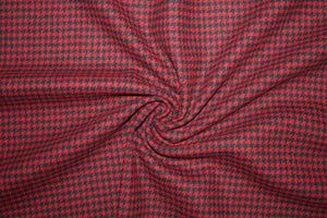 Woolrich Mini Houndstooth Check Wool Flannel - Deep Red/Black