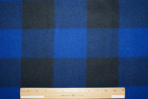 1 3/4+ yards of Woolrich Buffalo Plaid Wool Flannel - Royal Blue/Black