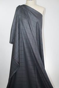 Italian Wool/Silk Windowpane Plaid - Black/Gray
