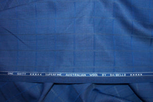 3/4+ yard of BA-Bello Plaid Australian Super 160 Wool - Blues
