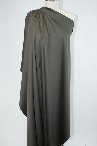 Italian Designer Stretch Wool Twill Sateen - Olive Night