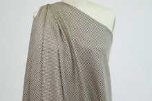 Italian Merino Wool Mini Houndstooth Check Tweed - Brown/Ivory