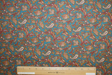 Japanese Paisley Cotton Shirting - Red/Gold/Ivory on Blue
