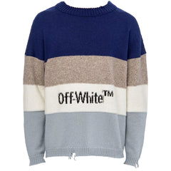 Blue and white ribbed jumper