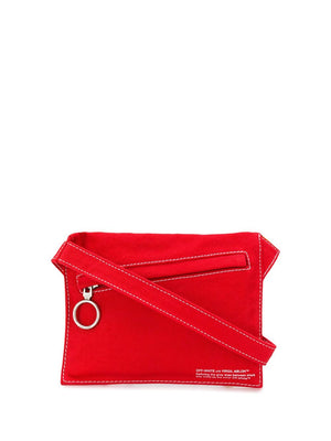 Denim Flat Crossbody Bag - Red | Off-White