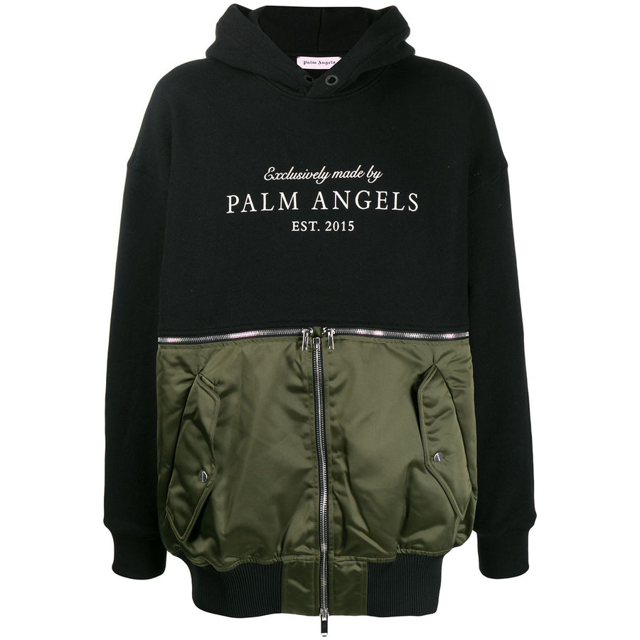 Logo Hoodie Meets Bomber - Black Khaki | Palm Angels