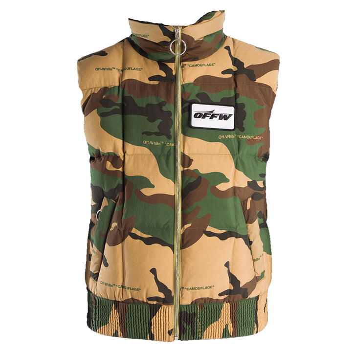 Off White Camo Sleeveless Puffer
