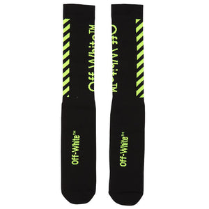 Off White Diagonal Socks Black
