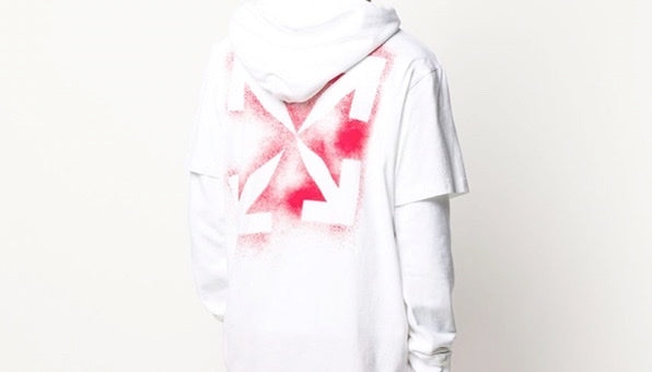 Off-White Stencil Arrow print layered-look hoodie