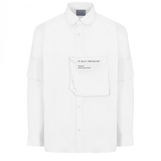 Poliquant White Casual Shirt Double Sleeves Effect