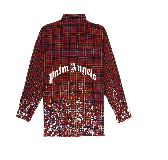 PALM ANGELS ROUND LOGO SHIRT RED/ WHITE