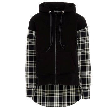 PALM ANGELS check-print panelled zip-up hoodie