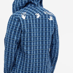 Off-White Hooded Flannel Check Shirt Blue Medium