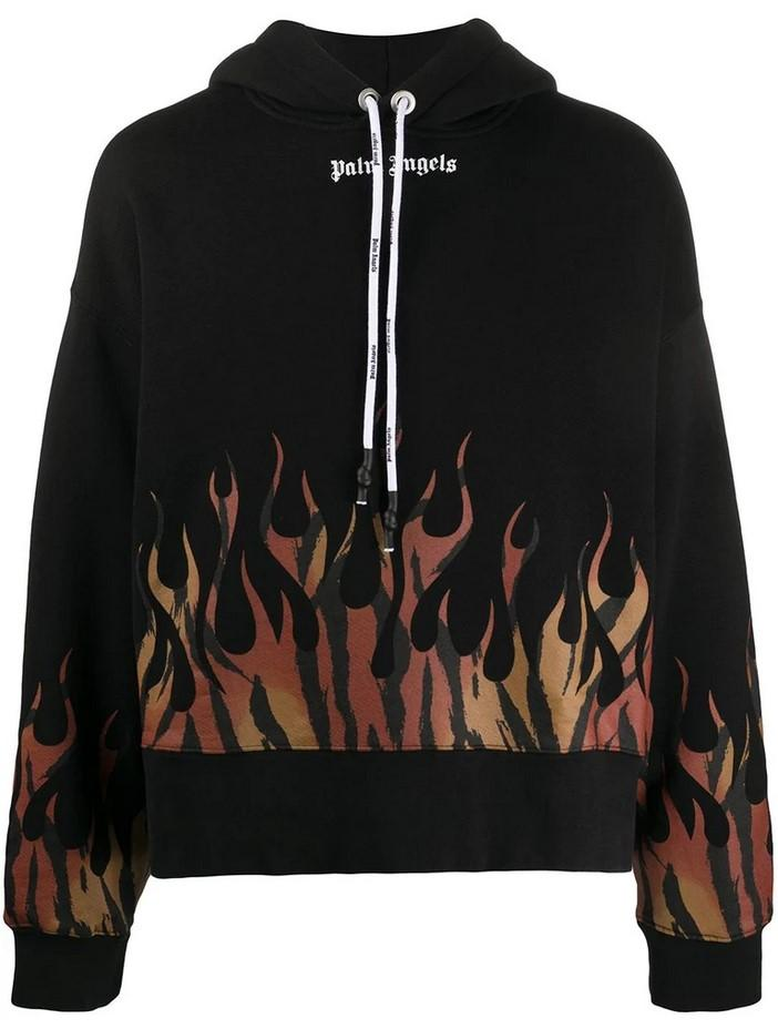 Palm Angels Tiger Flames Hoody Black / Orange