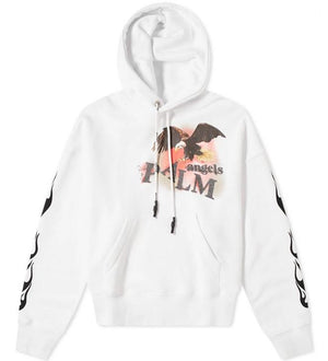 Palm Angels Flame Eagle Hoody White MultiColour