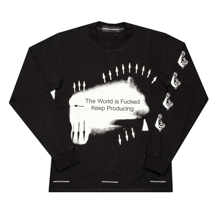 Daniel 'Keep Producing' Long Sleeve T-Shirt - Black | UNITED STANDARD