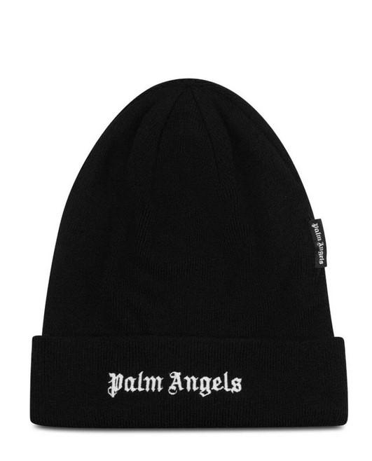 Palm Angels Logo Beanie Black / White