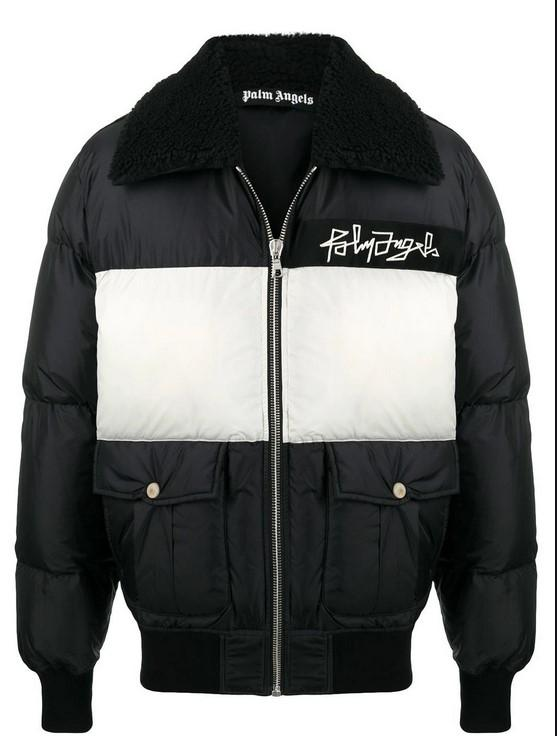 Palm Angels Desert Logo Down Jacket Black / White