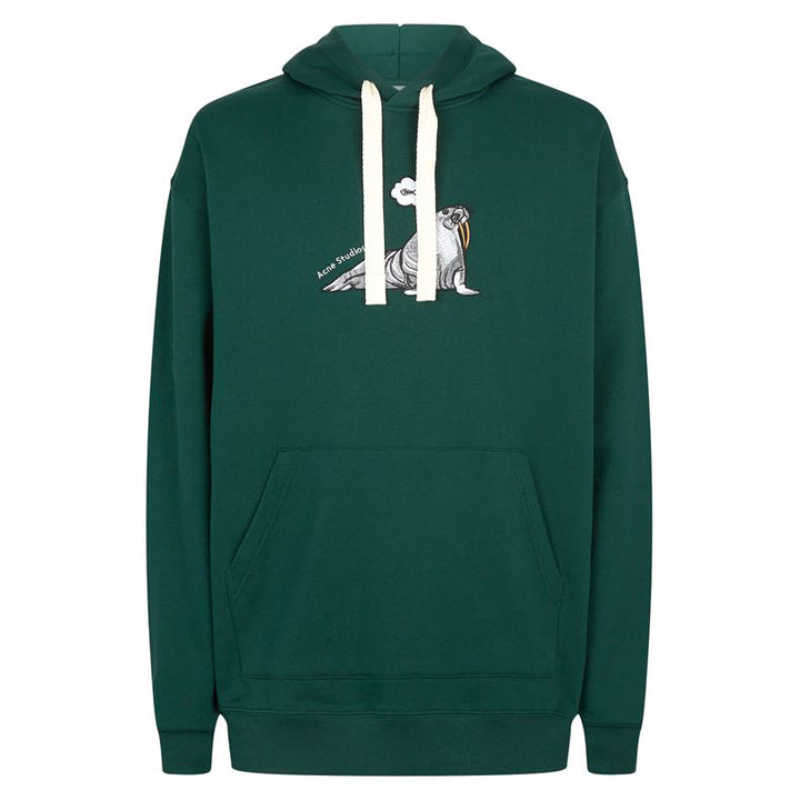 Animal Embroidered Hooded Sweatshirt - Forest Green | Acne Studios