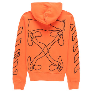 Abstract Arrows Slim Hoodie - Orange Black | Off-White