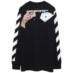Off White Diag Hand Card L/S Tee