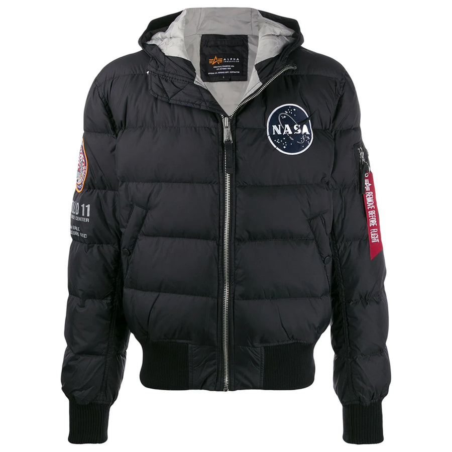 Hooded Puffer Apollo 11 Jacket - Black | Alpha Industries
