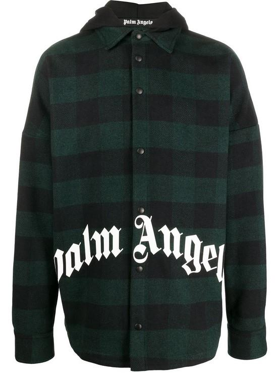 Palm Angels Hoody Logo Overshirt Forest Green